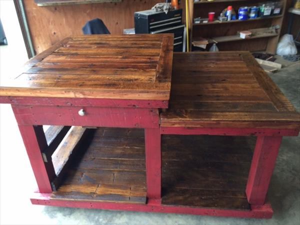 handmade pallet center kitchen island