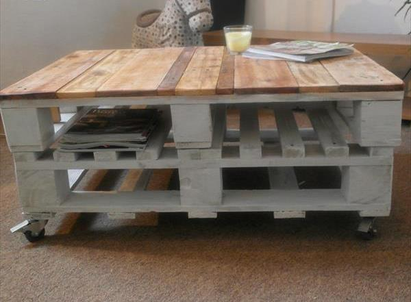 no-cost pallet chic coffee table