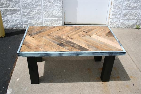 handmade wooden pallet chevron coffee table