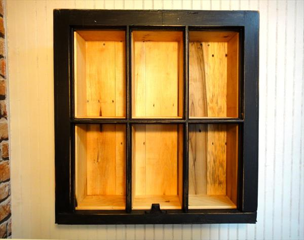 no-cost wooden pallet and old window frame bookshelf