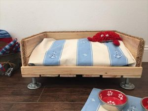 no-cost pallet dog bed with short metal legs