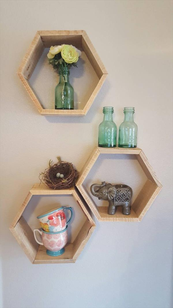 low-cost wooden pallet geometrical wall shelves