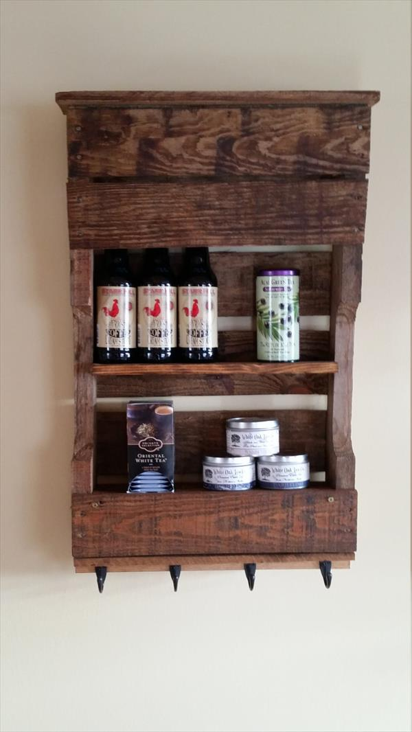 handcrafted wooden pallet kitchen wall organizer