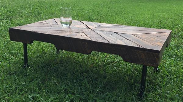 Chevron Pallet Coffee Table rustic pallet coffee table with pipe legs | pallet furniture plans