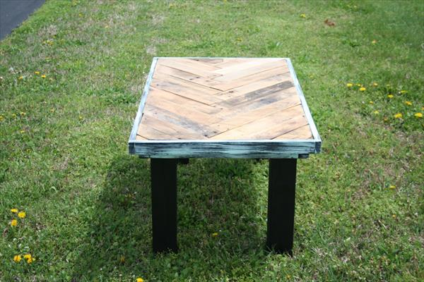 no-cost wooden pallet chevron coffee table