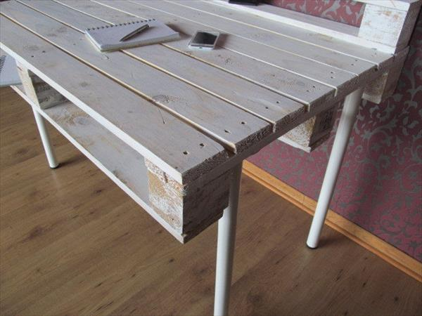 low-cost pallet desk with reclaimed hairpin legs