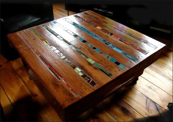 reclaimed pallet and colorful ceramics coffee table