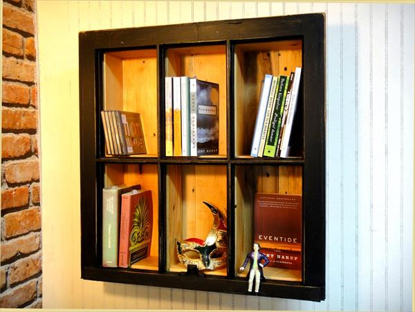recycled pallet and old picture frame bookshelf