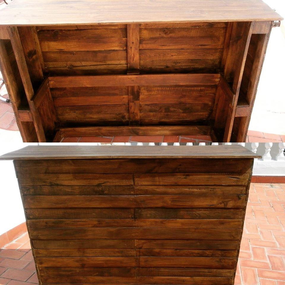 Recycled pallets bar table pallet furniture plans for Pallet furniture projects