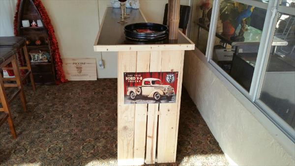 sturdy wooden pallet bar