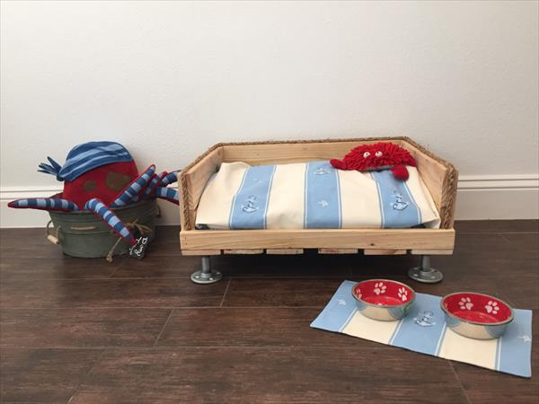 diy pallet dog bed with short metal pipe legs