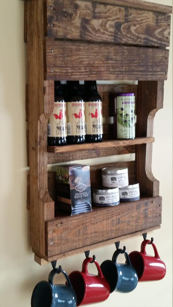 recycled pallet rustic kitchen wall organizer