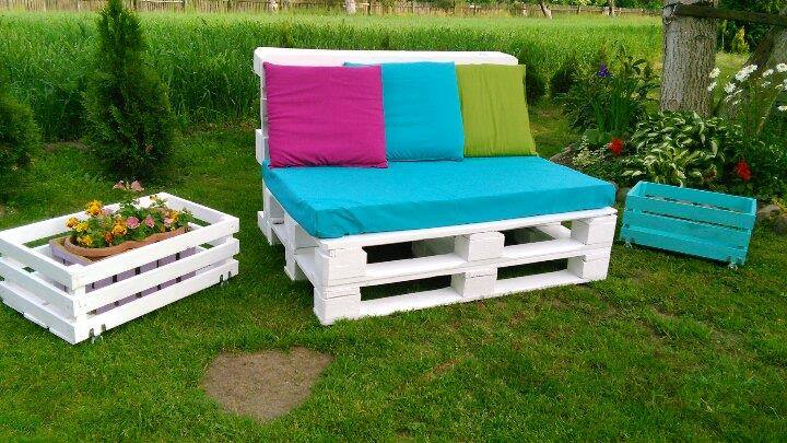 Wooden pallet two seater sofa