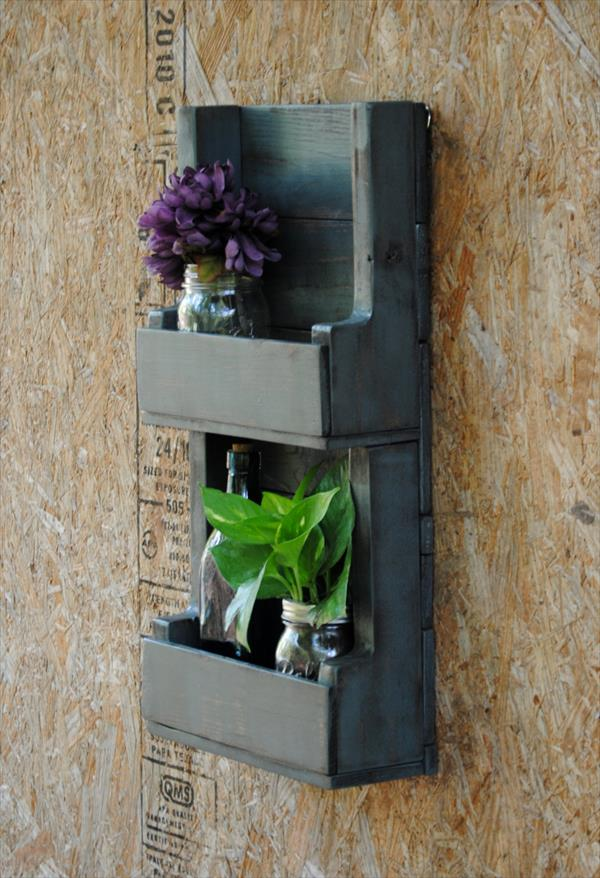 upcycled wooden pallet wall shelving unit