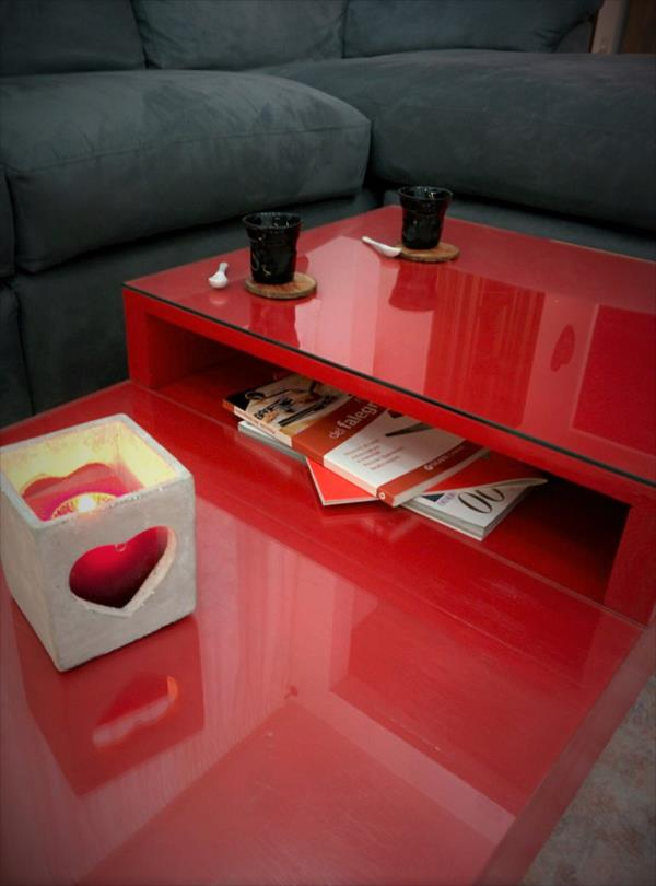 low-cost red painted pallet coffee table