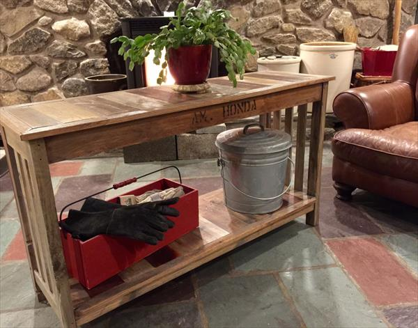wooden pallet console or pot organizer