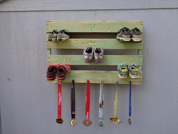 distressed green pallet shoes rack