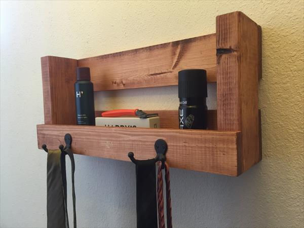 robust wooden pallet shelf with hooks