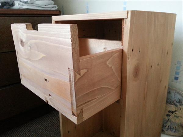 rustic wooden pallet nightstand