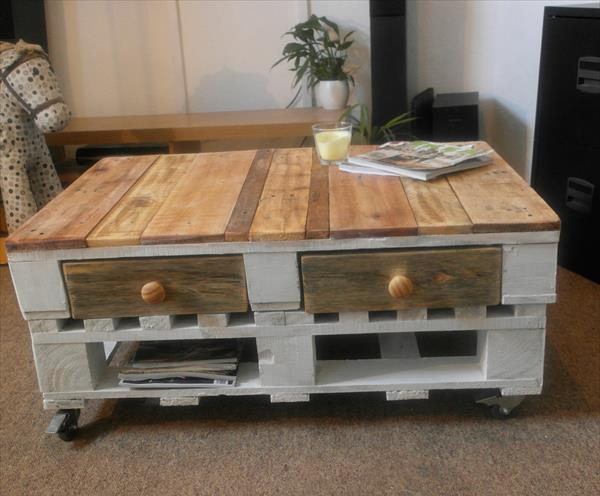 recycled pallet chic coffee table