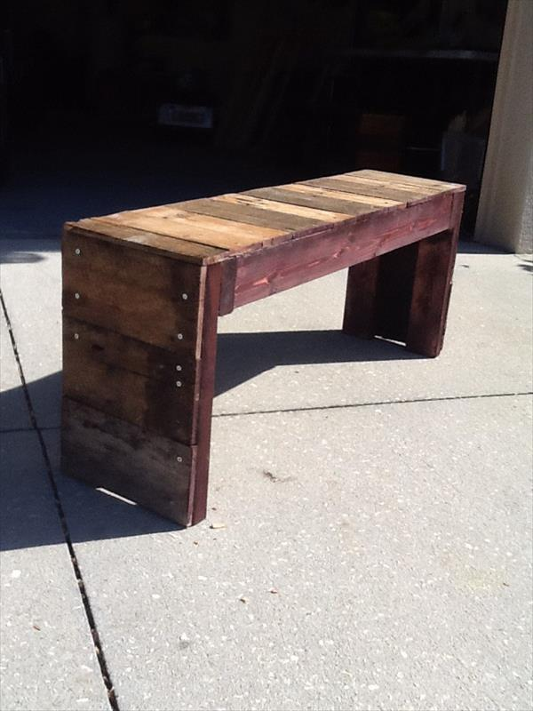 recycled pallet wood bench