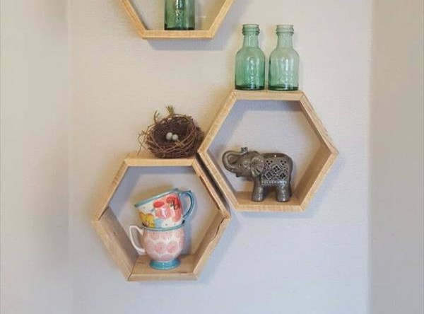 recycled pallet hexagon display shelves