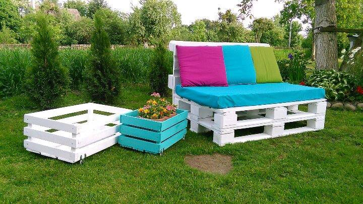 Recycled pallet two seater sofa