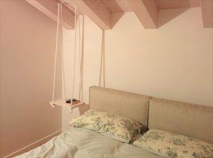 repurposed wooden pallet hanging nightstand