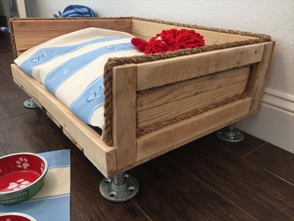handmade wooden pallet dog bed