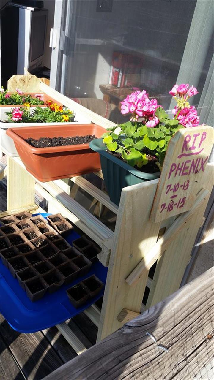 handmade wooden pallet planter stand or pot organizer