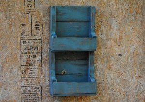 recycled rustic wooden pallet wall shelving unit