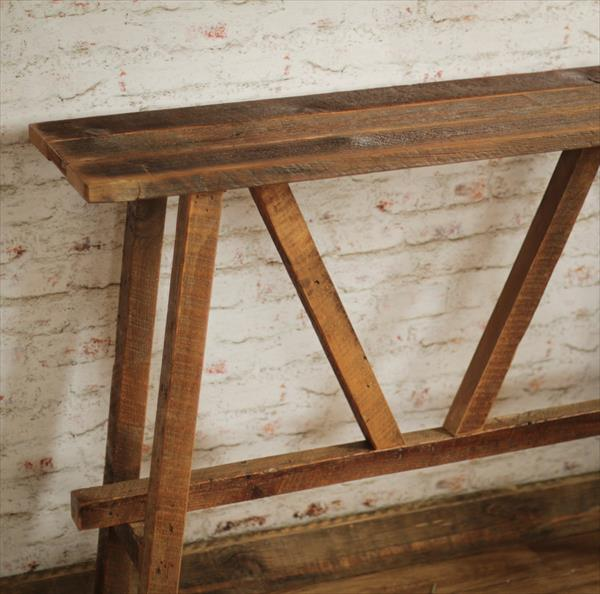 handcrafted wooden pallet console or sofa side table