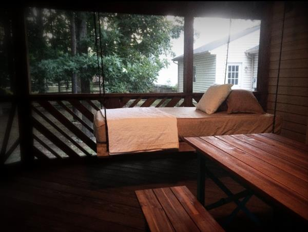 upcycled wooden pallet bed swing