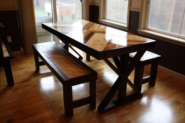 wooden pallet chevron pallet dining table with 2 matching benches