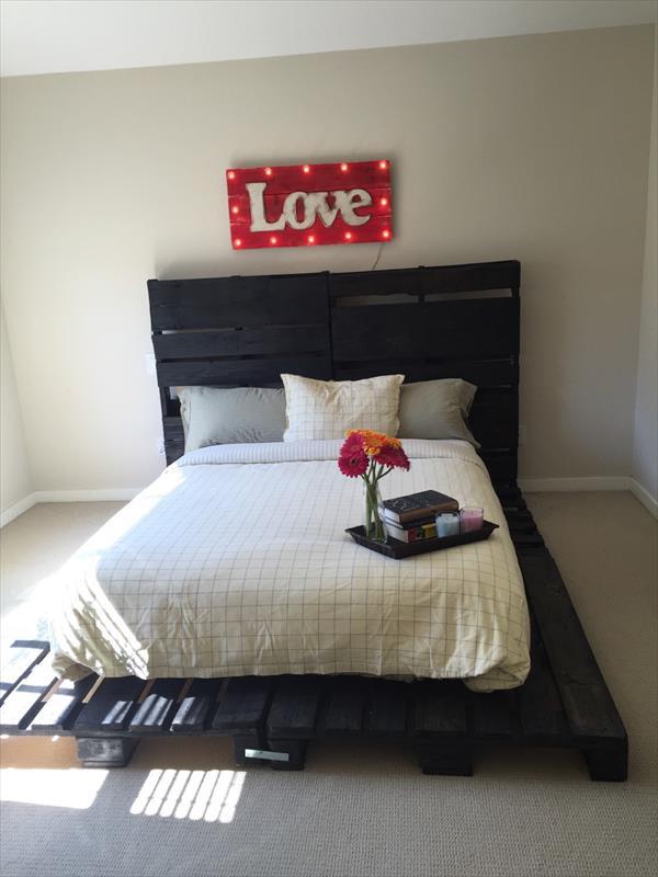 diy no-cost pallet platform bed