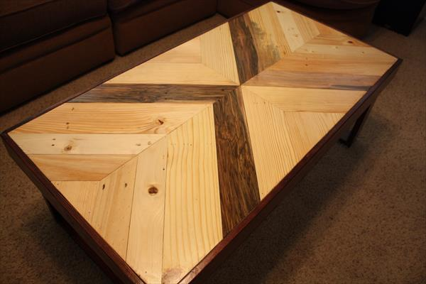 upcycled wooden pallet multichevron coffee table