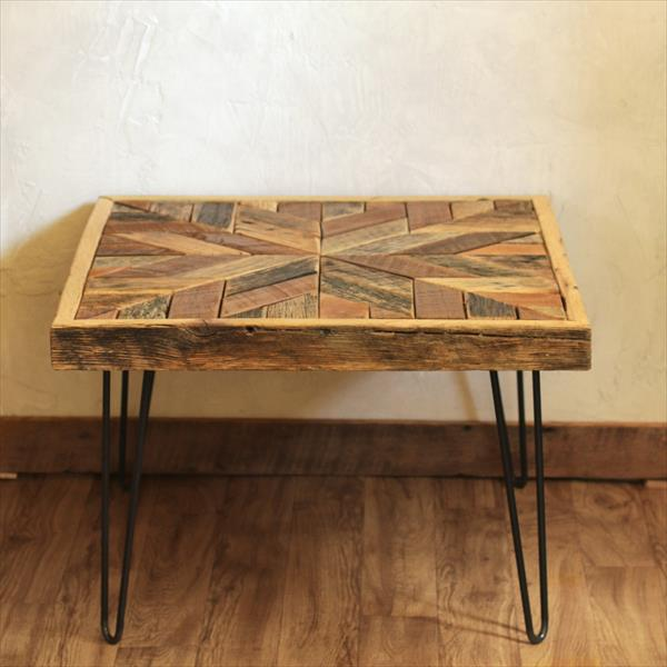 handcrafted wooden pallet star patterned top table