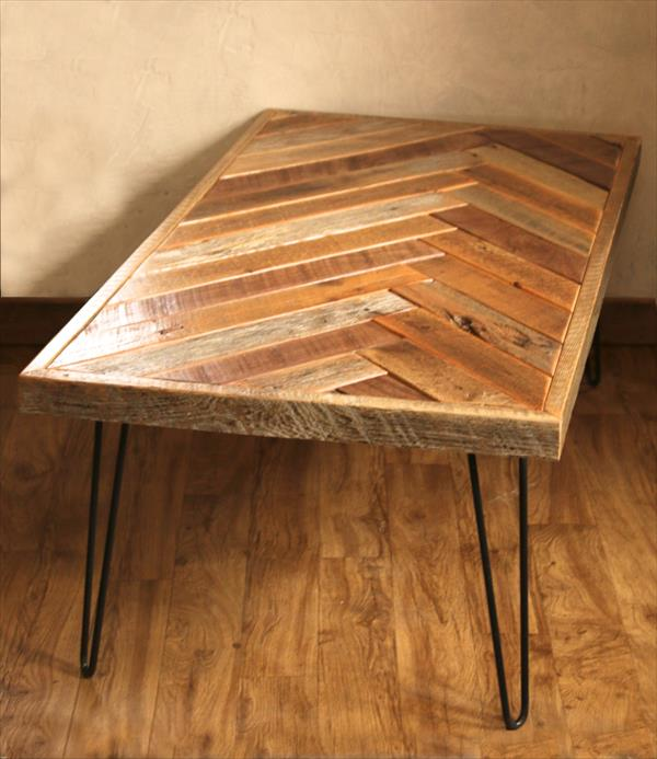 recycled pallet herringbone style coffee table
