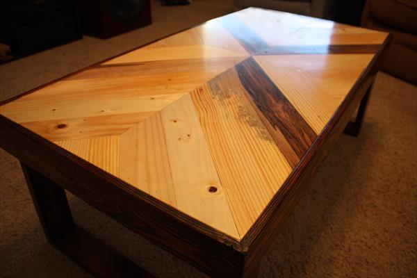 Chevron Pallet Coffee Table recycled pallet chevron coffee table | pallet furniture plans
