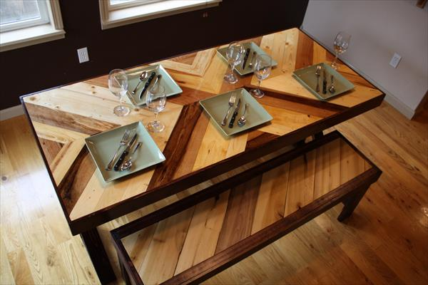 upcycled pallet chevron dining tale with matching benches