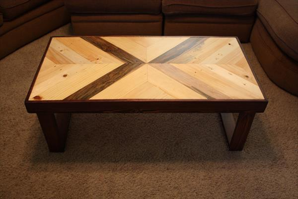 recycled wooden pallet dual tone coffee table