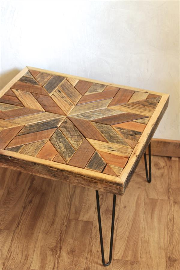 upcycled wooden pallet star patterned top coffee table