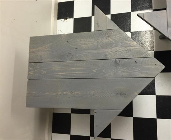 handmade wooden pallet arrow shaped side table