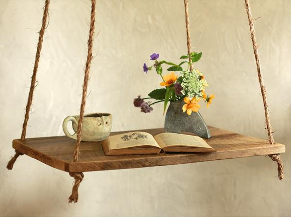pallet and nautical rope hanging table