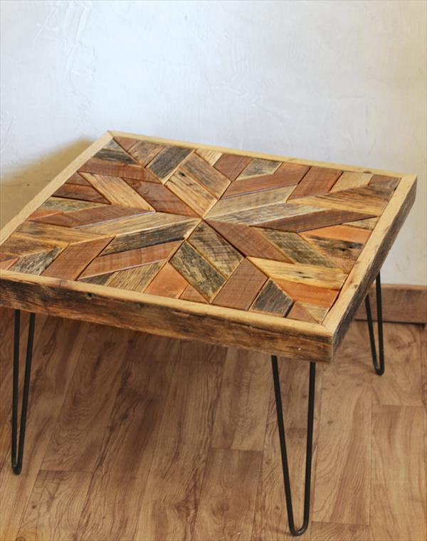 recycled pallet star patterned top coffee table