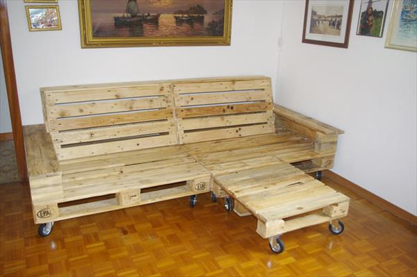 handcrafted wooden pallet sofa and chaise lounge