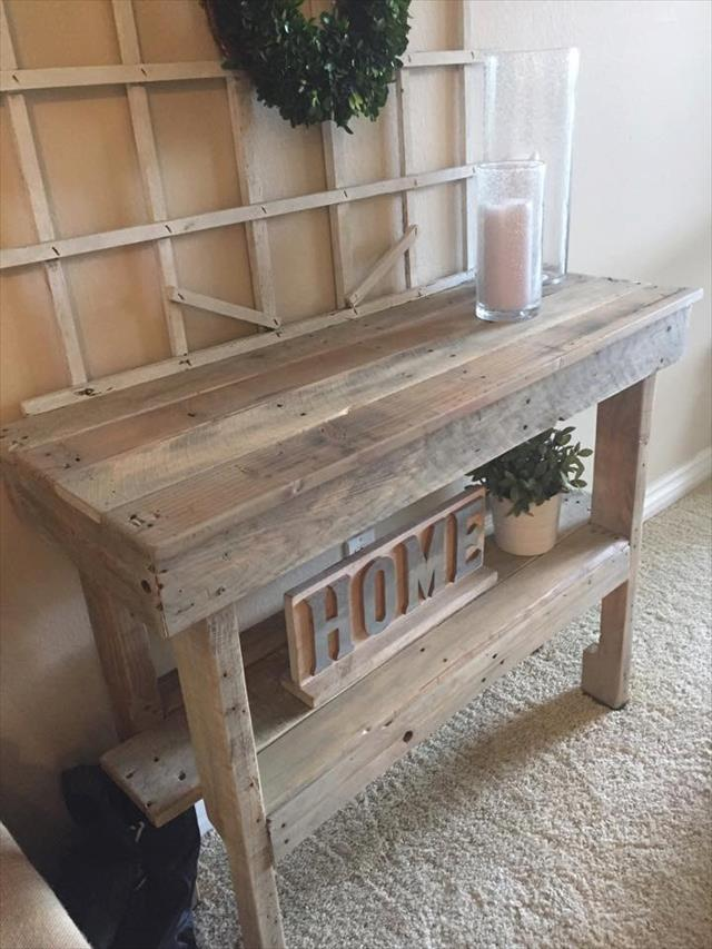 handcrafted wooden pallet entryway console