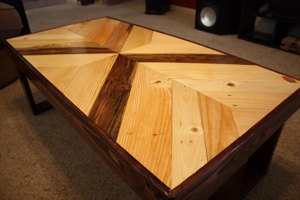 diy wooden pallet multichevron dual toned wooden coffee table