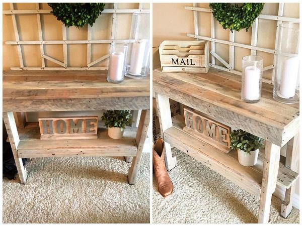 Wooden Pallet Console Table - Hall Table - Entryway Table