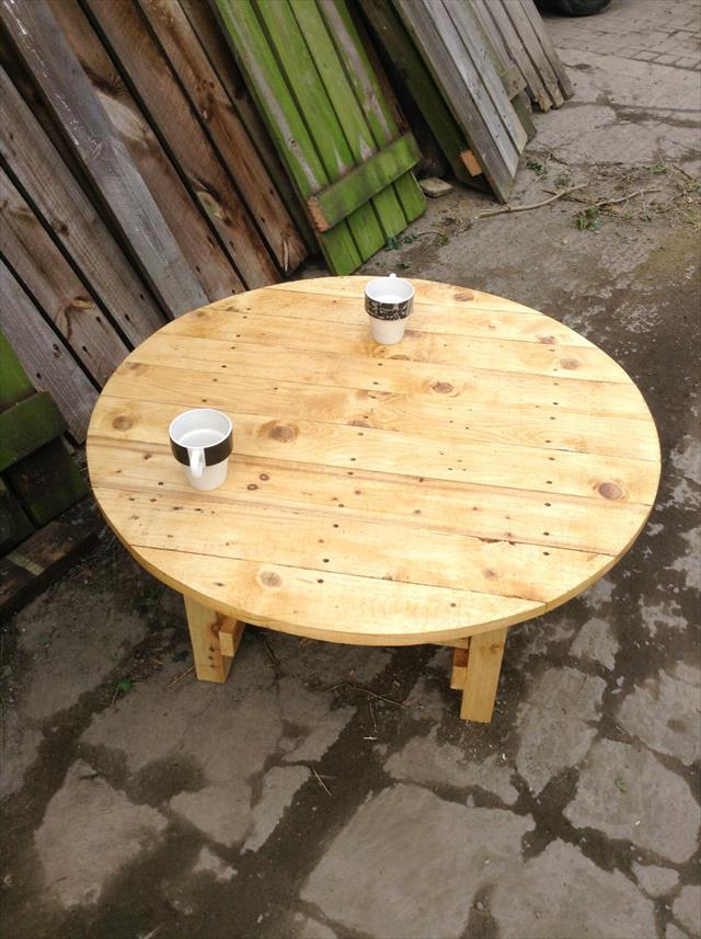 upcycled wooden pallet round top coffee table